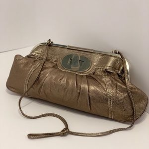 Badgley Mischka Metallic Taupe Large Crossbody